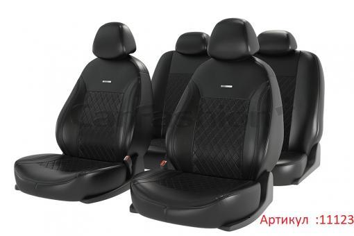 Универсальные авточехлы на передние и задние сиденья Carfashion модель Atom Leather Plus (11123)