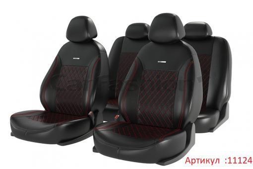 Универсальные авточехлы на передние и задние сиденья Carfashion модель Atom Leather Plus (11124)